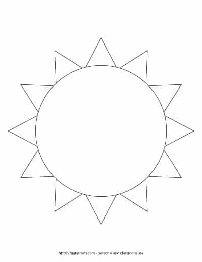 """A preview of a printable black and white sun template. The simple sun outline fills the entire page. On the bottom is written """"natashalh.com - personal and classroom use only"""""""
