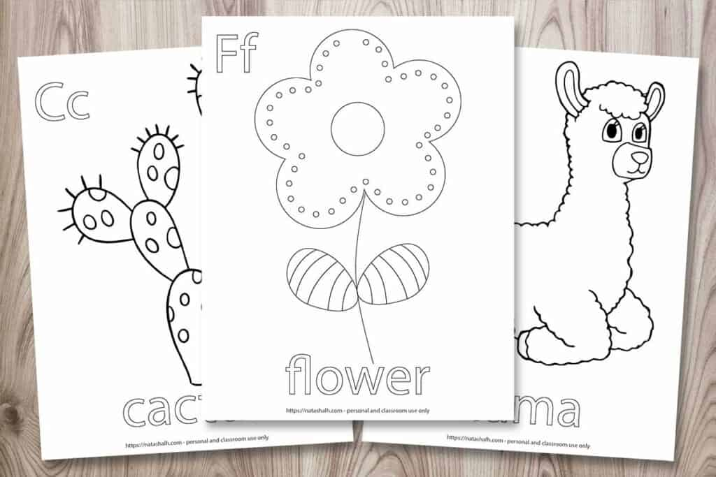 "Three coloring pages for young children. One has a flower to color along with the text ""Ff flower"" Another page has a cactus to color and ""Cc cactus"" and the final page has a llama and the text ""Ll llama."" The pages are fanned out on a  wood background"