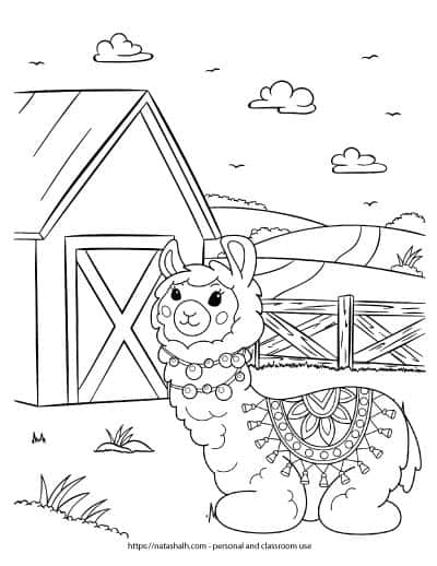 Free printable coloring page featuring a llama in front of a barn. The llama is ling down and wearing a blanket with tassels. There is a fence and mountain with a road in the background behind the barn. There are three clouds in the sky.