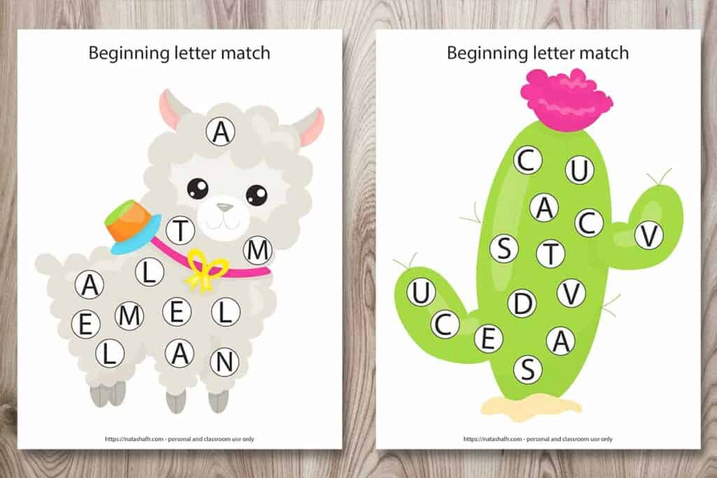 Two free printable beginning letter match worksheets. One has a llama and the other has a cactus. Each image has circles with letters so a child can use a dot marker to cover the letter L or C, respectively.