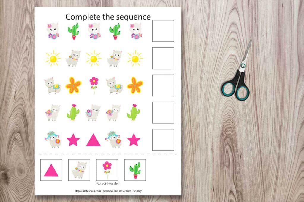 Complete the sequence worksheet featuring cartoon llama and desert images. There are five different patterns to complete with cut and paste tiles