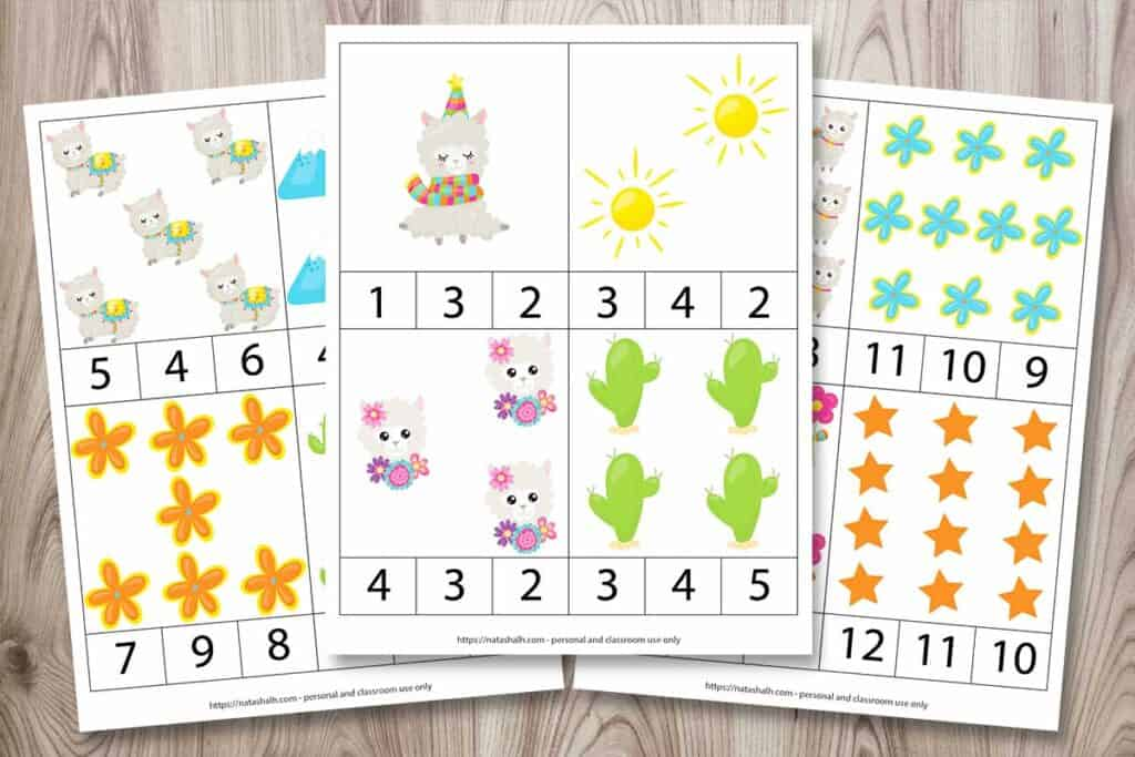 Three pages of printable counting clip cards featuring llama themed cartoon images. There are four cards to each page for a total of 12 cards with numbers 1-12. Each card has three numbers so a child can count the pictures and select the correct number from the provided choices.