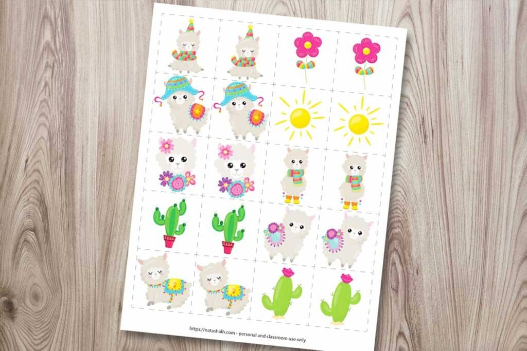 "A set of llama themed matching cards on a wood background. The page features 10 cartoon llama and dessert images on 2"" squares to play a matching or memory game."
