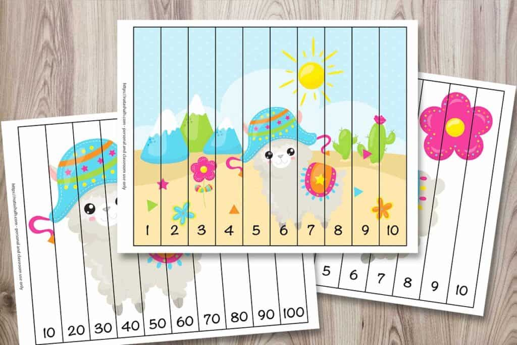 Three llama themed number building puzzles for children. The front image is a full color scene with a cartoon llama in the dessert with mountains and cacti. It has strips to cut with numbers 1-10. Two other puzzles are partially visible. One has a llama and numbers 10-100 by 10s. The back image has a llama and a flower and features the numbers 1-10.