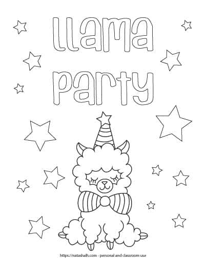 "Text ""llama party"" in bubble letters above a sitting llama wearing a party hat and bow tie. The page is covered in stars to color."