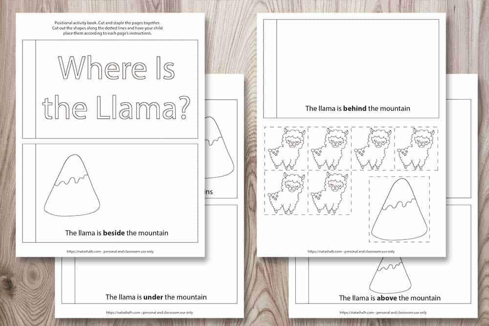 "A preview of a 4 page free printable positional word coloring book for young children. Each page directs the child to place a llama in relationship to a mountain. For example, ""The llama is beside the mountain"" and ""The llama is under the mountain."" The final page of the book has llama and mountain tiles to cut and paste. All images are black and white and can be colored."