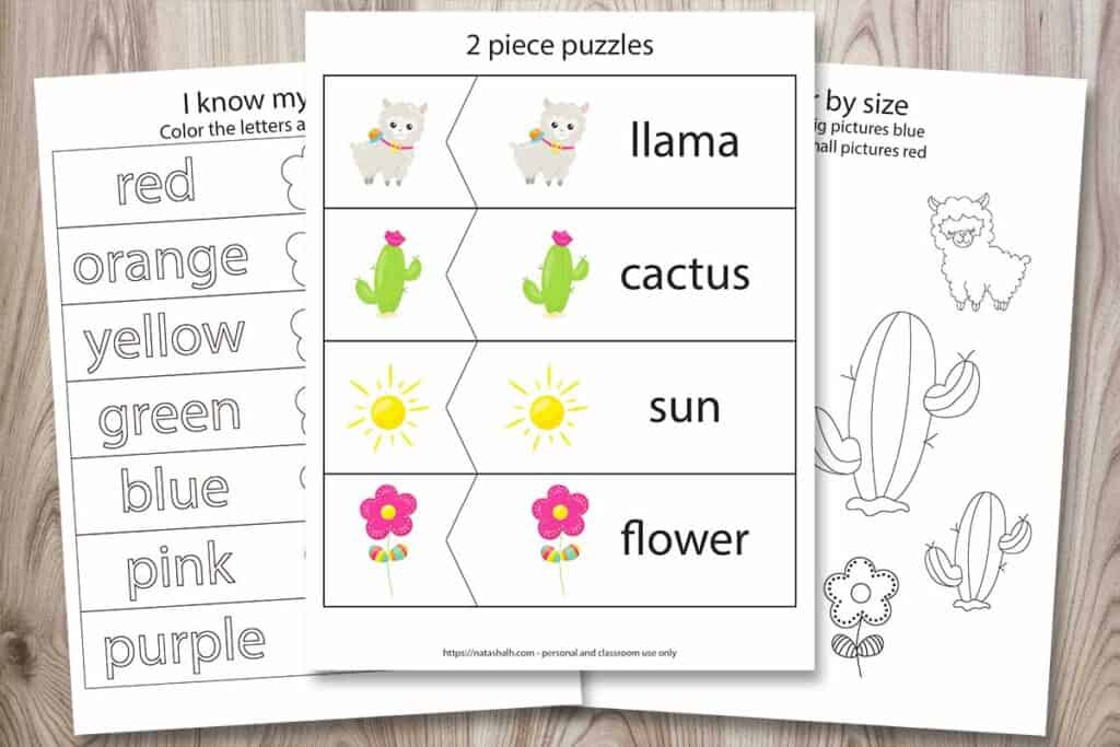"Three free printables from a llama preschool learning pack. The front image has 2 piece puzzles with llama-related images (a cartoon llama, cactus, sun, and flower). There is also a page called ""I know my colors!"" with flowers to color and a color by size printable for size differentiation. All printables are on a wood background."