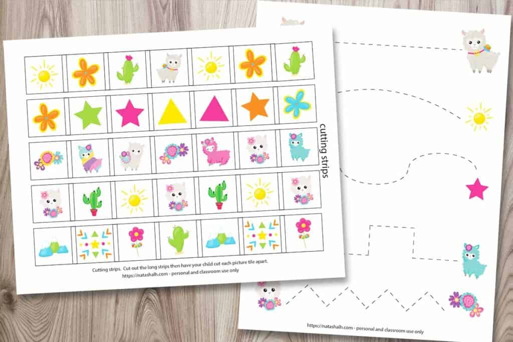 Free printable llama themed cutting strips and prewriting worksheets for preschoolers and kindergartners. The printables feature cute cartoon llama images and are shown on a woodgrain background.