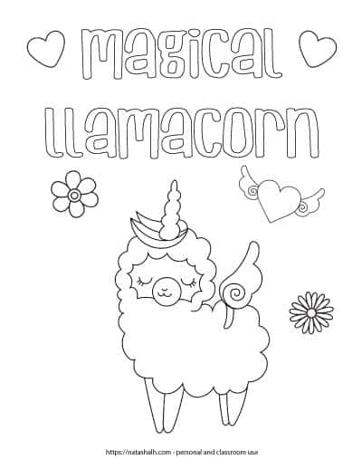 "Coloring page with the text ""magical llamacorn"" in bubble letters with two hearts. Below the text is a cartoon llama unicorn - a cute llama wearing a unicorn horn. There are also two flowers and a heart with wings on the page."