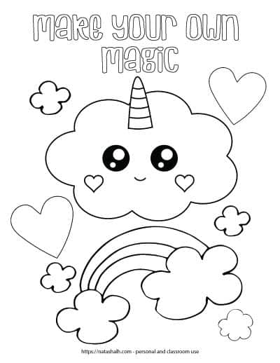 "Cute coloring page for kids with a cloud with a kawaii face. The cloud has hearts for cheeks and a unicorn horn. There is a rainbow with only three stripes surrounded by abstract small clouds. There are also two large hearts to color and the text ""make your own magic"" in bubble letters at the top of the page."