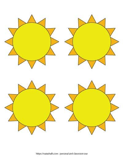 Free printable sun template with four medium yellow suns surrounded by orange sunshine.