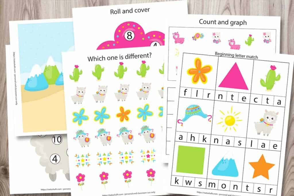 "Preview images from a preschool learning pack featuring llamas. Pages shown include a beginning letter match printable with shapes and llama-related images, a pattern recognition page called ""Which one is different?"", a roll and cover do a dot printable with a pink flower and umbers 1-10, count and grab with llamas, cacti, and flowers, and a play dough mat with a dessert scene featuring mountains and a cactus."