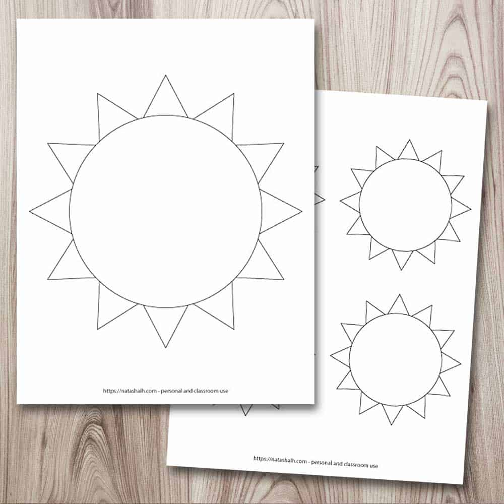 A square image with a preview of two printable sun templates. On the top left is a large sun template that fills the entire page. It is a simple sun in black and white. Behind this page is a partially concealed page with four simple sun templates. Two of the suns are fully visible and only a couple spikes from the other two suns are visible.