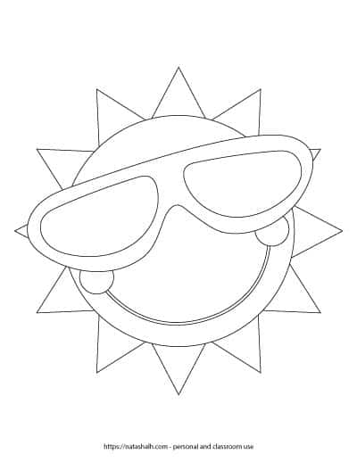 """A preview of a printable black and white sun template. The sun is wearing a large pair of sunglasses and has a big smile with cheeks. The sun outline fills the entire page. On the bottom is written """"natashalh.com - personal and classroom use only"""""""