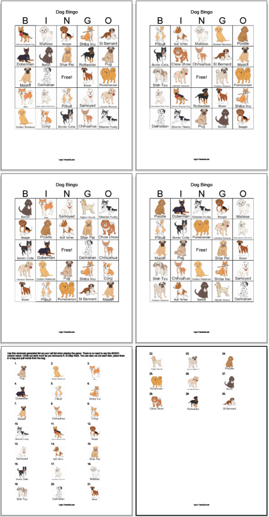 Set of four free printable dog bingo cards with two cal cards. The images are somewhat realistic illustrations with the name of each dog.
