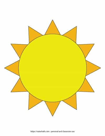 """A preview of a yellow and orange sunshine template. The center is yellow and it is surrounded by orange spikes. The sun outline fills the entire page. On the bottom is written """"natashalh.com - personal and classroom use only"""""""
