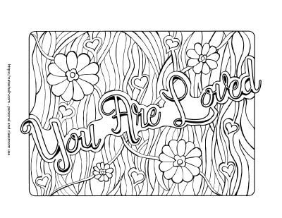 "quote coloring page with ""you are loved"" in script font and hand drawn wavy lines and daisy flowers in the background"