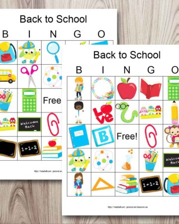 two free printable back to school themed bingo boards on a wood background. The cards each have 24 back to school cartoon images like chalkboards, books, and school supplies