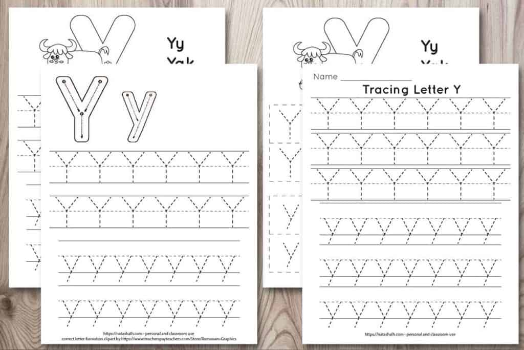 "four free letter y tracing printables on a wood background. Each features uppercase and lowercase letter y's to trace in a dotted font. One has correct letter formation graphics and two have a cute yak to color and the text ""Yy Yak"""
