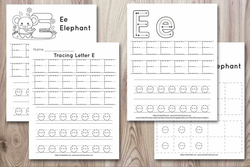 Four free printable letter e tracing worksheets on a wood background. All four worksheets have the letters Ee in a dotted font to trace. Two worksheets have an elephant to color and one has a correct letter formation graphic