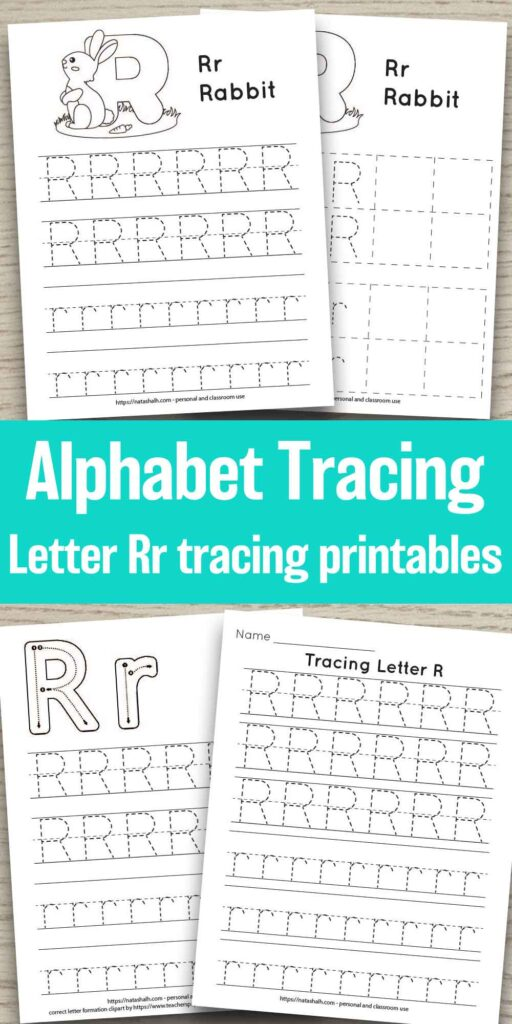 "Four printable tracing worksheets for the letter A. Each worksheet features the letter in capital and lowercase in a dotted font for easy tracing. Three worksheets have lines and one worksheet has boxes to fill in with the letter. In the center of the image is the text overlay ""Alphabet tracing Letter Rr tracing printables"""