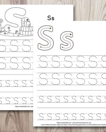 two free printable letter s tracing worksheets on a wood background. The worksheet in from has correct letter formation graphics for S and s as well as four lines of dotted letter s tracing practice. The worksheet behind also has four lines of letter s's to trace. At the top of the page is a cute cartoon snake to color.