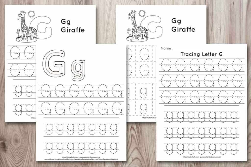 free printable letter g tracing worksheets. There are four worksheets on a wood grain background. Each worksheet has uppercase and lowercase letter g's to trace. Two pages have a giraffe to color. One has correct letter formation graphics.