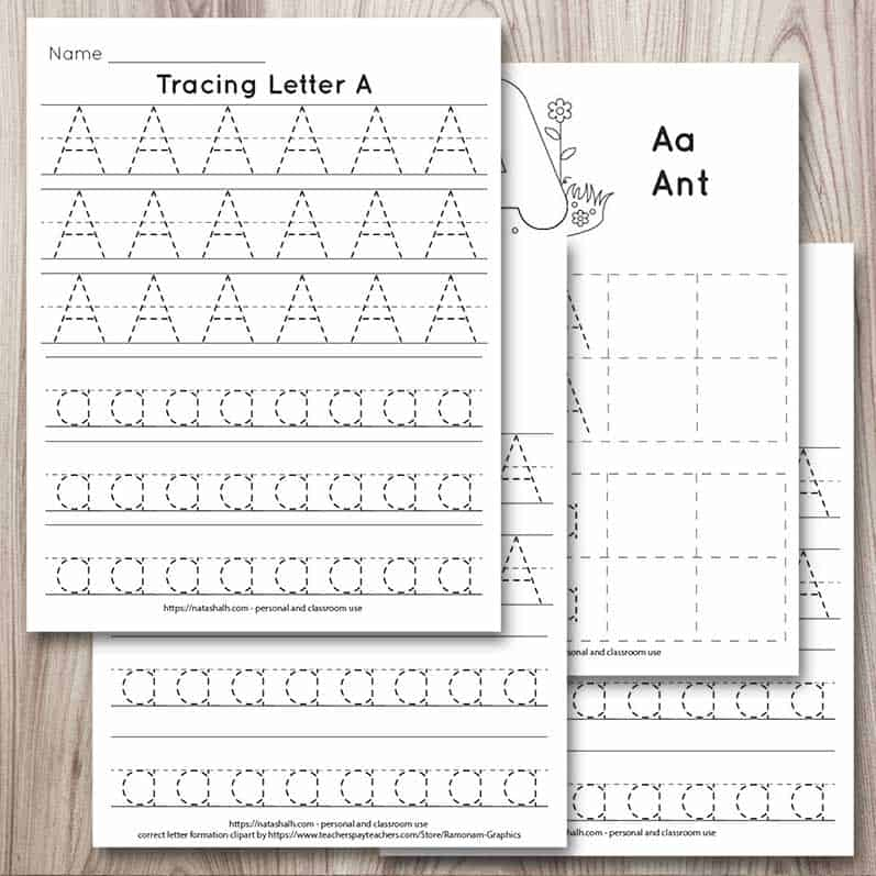 Four printable letter a tracing pages in a digital mockup on a wood background. The pages are piled on one another. Each page has uppercase and lowercase letter a's to trace. The letters are formed in a dotted font for easy tracing.