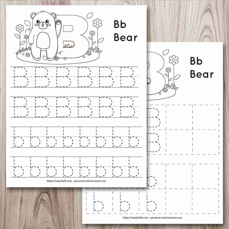 Two printable letter B tracing worksheets mockup on a wood background. The front page has a bear to color and four lines of dotted letter b's to trace. The page behind also has a bear and letters to trace. The letters are in boxes.