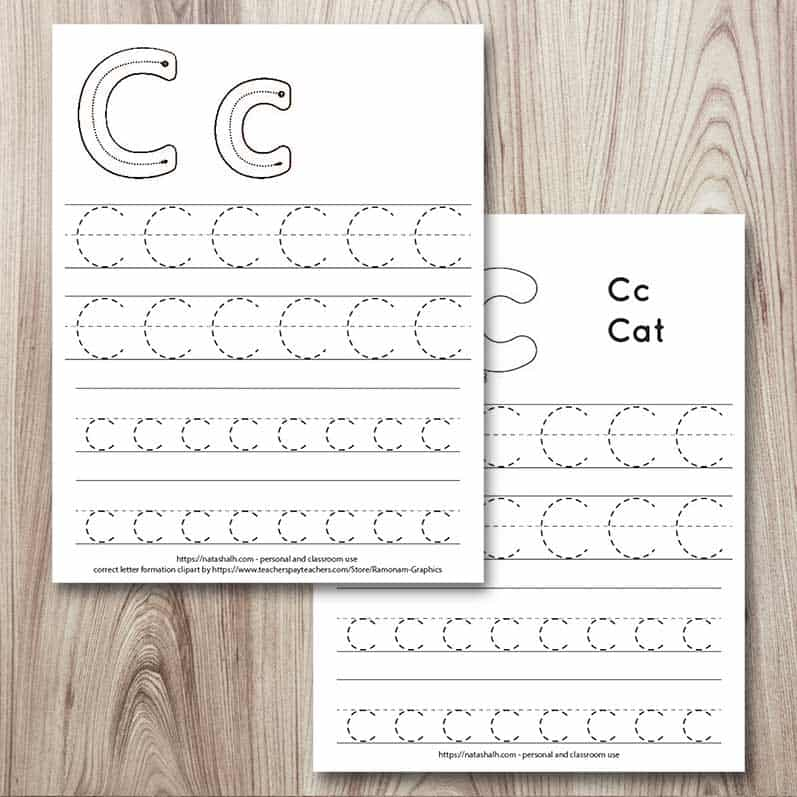 Letter Cc tracing pages. There are two pages on a wood background. The top page has four lines of c's in a dotted font to trace and two correct letter formation graphics. The bottom page has four lines of C's to trace and a cat to color