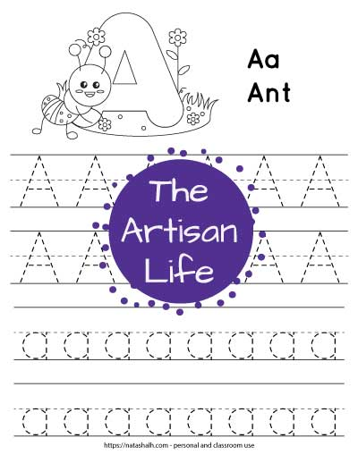 letter-a-tracing---Ant image with dotted letters to trace