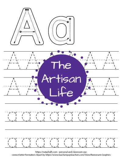 letter-a-tracing worksheet with correct letter formation images