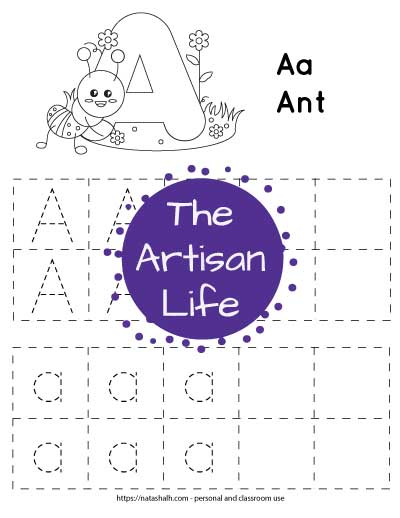letter-a-tracing---squares with dotted letters to trace and an ant to color