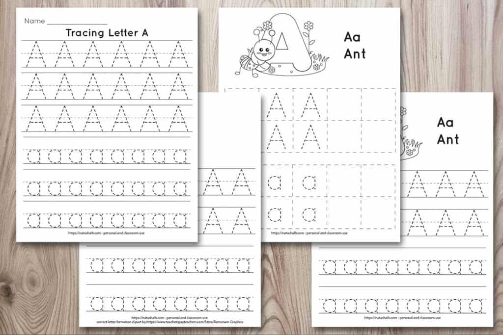 Four printable tracing worksheets for the letter A. Each worksheet features the letter in capital and lowercase in a dotted font for easy tracing. Three worksheets have lines and one worksheet has boxes to fill in with the letter.