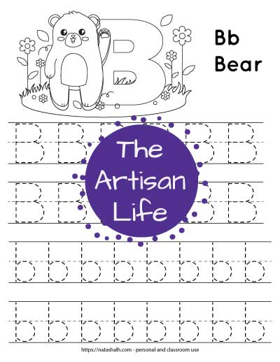 letter-b-tracing--bear with dotted letter b's to trace