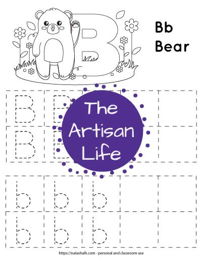 letter b tracing pages with a bear to color and boxes