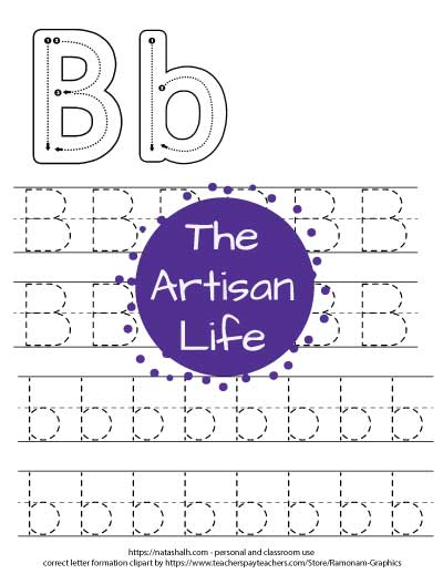 letter b tracing worksheet with correct letter formation