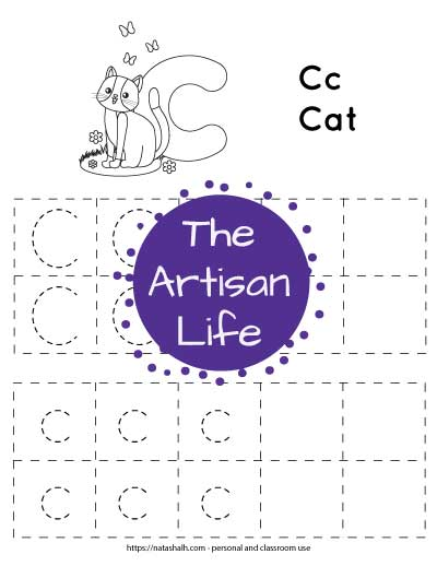 letter c tracing page with dotted C and c in boxes to trace. There is also a cat to color.
