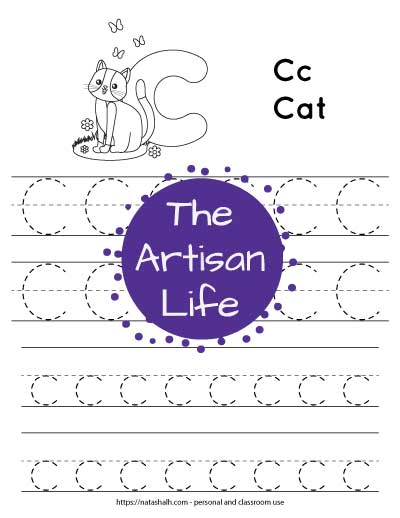 letter c tracing worksheet with C and c in a dotted font to trace and a cat to color