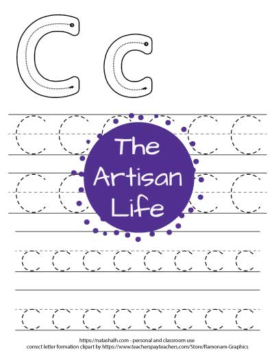 letter c tracing page with four lines of c's to trace and a C and c correct letter formation graphic