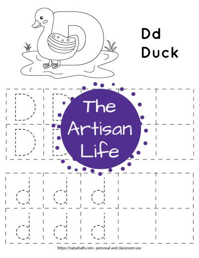 Letter D tracing worksheet with capital and lowercase letters in a dotted font to trace. The letter are in dotted boxes. There is also a duck to color at the top of the page.