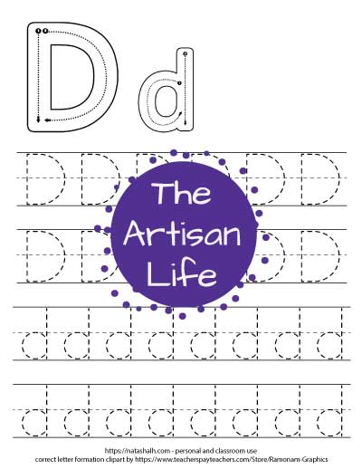 Letter D tracing worksheet with capital and lowercase letters in a dotted font to trace. There are correct letter formation graphics for Dd at the top of the page.