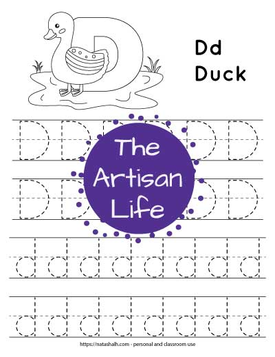 Letter D tracing worksheet with capital and lowercase letters in a dotted font to trace. There is also a duck to color at the top of the page.