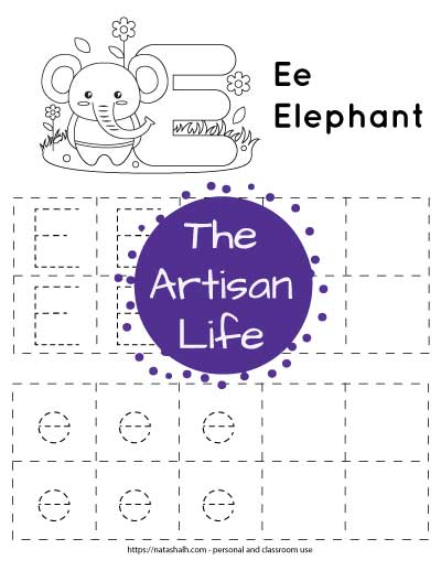 Letter E tracing worksheet. The letters are in boxes and in a dotted font to trace. There is an elephant and a large bubble E at the top of the page to color