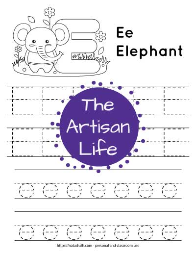 Letter E tracing worksheet. The letters are on lines and in a dotted font to trace. There is an elephant and a large bubble E at the top of the page to color