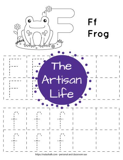 letter f tracing worksheet with dotted f's to trace in boxes and a frog to color