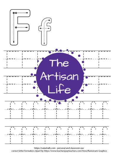 letter f tracing worksheet with dotted f's to trace and correct letter formation graphics for letters F and f