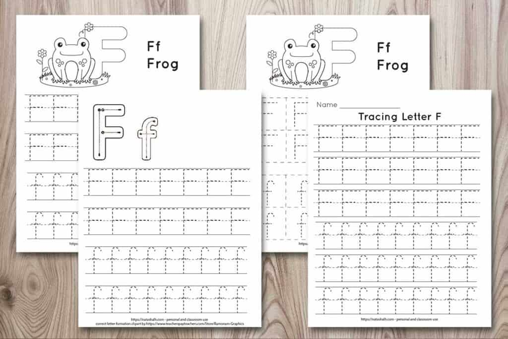 Four printable letter f tracing worksheets on a wood background. All four worksheets featured the letters Ff in a dotted font to trace. Two printables have a frog to color, one has correct image formation graphics, and the last printable has size lines of f's to trace.