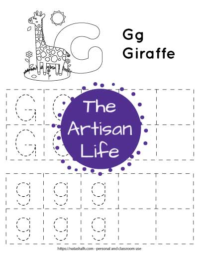 letter g tracing worksheet with uppercase and lowercase g's in dotted boxes to trace. There is a giraffe to color at the top of the page