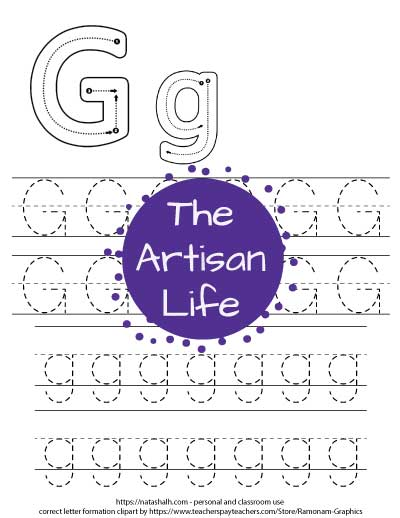 letter g tracing worksheet with correct letter formation graphics for G and g